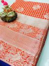Red color Lichi silk Zari weaving work saree