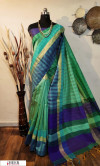 Multi color border and pallu  raw silk saree