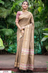 Beige color Soft Raw silk Woven work saree