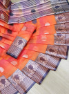 Orange color soft cotton weaving work saree