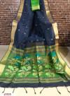Blue color Linen silk Zari weaving  jamdani saree
