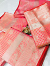 Pink color Lichi silk Zari weaving work saree