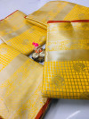 Yellow color Lichi silk Zari weaving work saree