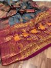 Gray color Pure Banarasi  weaving work saree