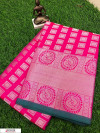 Pink color Lichi silk Zari weaving work saree