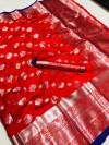 Red color soft lichi silk saree with silver zari woven
