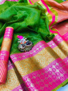 Green color Kota Silk Weaving Work saree