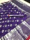 Purple color soft lichi silk saree with silver zari woven