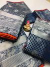 Blue color Lichi silk Zari weaving work saree