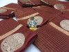 Coffee color Soft Linen silk Zari Weaving Work saree