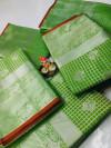 Green color Lichi silk Zari weaving work saree
