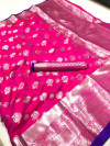 Pink color soft lichi silk saree with silver zari woven