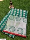 Rama green color Lichi silk Zari weaving work saree