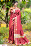Red color Soft Raw silk Woven work saree