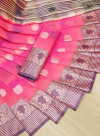 Pink color soft cotton weaving work saree