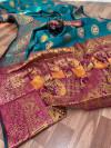 Firoji color Pure Banarasi  weaving work saree
