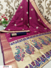 Wine color Paithani Golden zari work saree