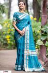 Firoji color Soft Raw silk Woven work saree