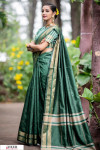 Green color Soft Raw silk Woven work saree