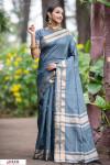 Gray color Soft Raw silk Woven work saree