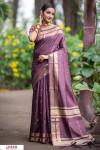 Wine color Soft Raw silk Woven work saree
