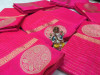Pink color Soft Linen silk Zari Weaving Work saree