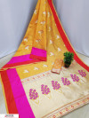 Yellow color soft cotton silk weaving work saree