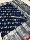 Navy blue Ncolor soft lichi silk saree with silver zari woven