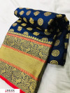 Navy blue color lichi silk golden zari work saree