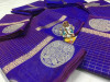 Blue color Soft Linen silk Zari Weaving Work saree