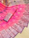 Pink color soft cotton weaving work saree