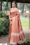 Brown color Soft Raw silk Woven work saree
