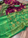 Wine color Pure Banarasi  weaving work saree