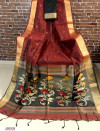 Maroon color Linen silk Zari weaving  jamdani saree