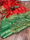 Red color Pure Banarasi  weaving work saree