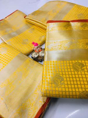 Yellow color Lichi silk Zari weaving work saree