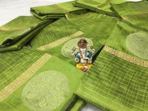 Green color Soft Linen silk Zari Weaving Work saree