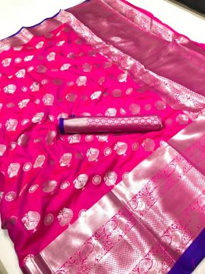 Pink color soft lichi silk saree with silver zari woven