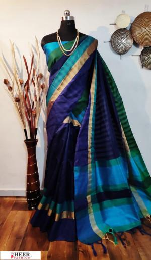 Multi color border and pallu raw silk saree
