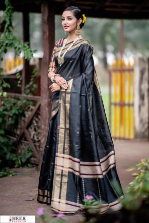 Black color Soft Raw silk Woven work saree