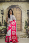 Pink and silver color tissue silk saree with zari weaving work