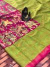 Pink color linen digital & kalamkari print saree with fancy pallu