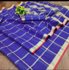 Purple color kota doriya silk saree with checks pattern