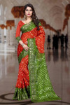 Multi color art silk bandhani saree with zari weaving border
