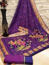 Purple color soft cotton kalamkari print saree with mirror work