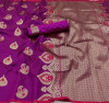 Magenta color lichi silk saree with zari weaving work & extra ordinary design