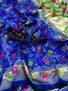Royal blue color soft banarasi silk saree with golden zari work