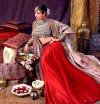 Red color taffeta silk lehenga with heavy embroidery work