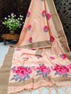 Peach color pure linen weaving saree with zari woven border & pallu