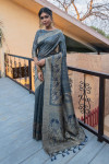 Gray color pure tussar silk saree with zari border & pallu